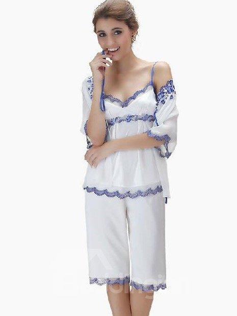Fantastic Graceful Floral Pattern Lace Border Pajama