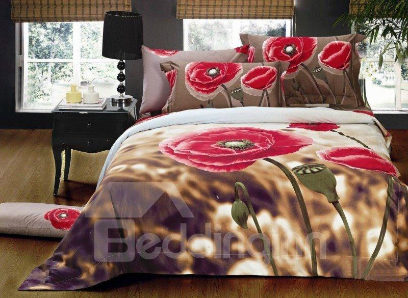 Amazing Poppy Flower Print 4-Piece Cotton Duvet Cover Sets