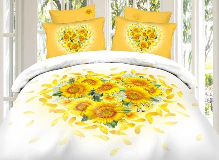 Heart Shape Sunflower Print 4-Piece Cotton Duvet Cover Sets