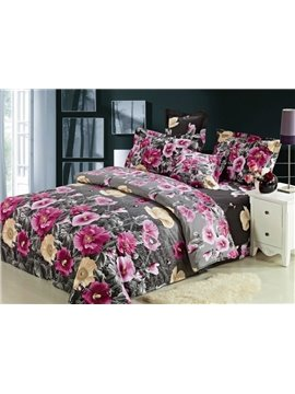 Attractive Blooming Pink Flower Print 4-Piece Cotton Duvet Cover Sets