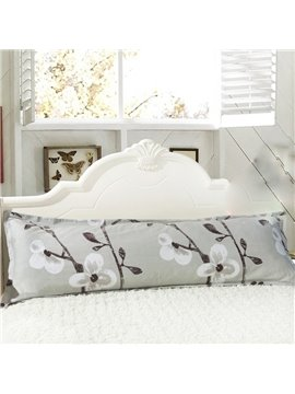 Super Soft White Flower and Branch Pattern Bed Pillowcase for a Couple