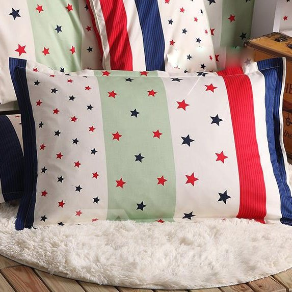 Super Comfortable Five-Pointed Stars Print Bed Pillowcase