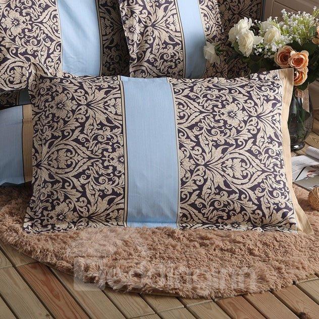 Super Soft Light Coffee Flower Pattern Bed Pillowcase