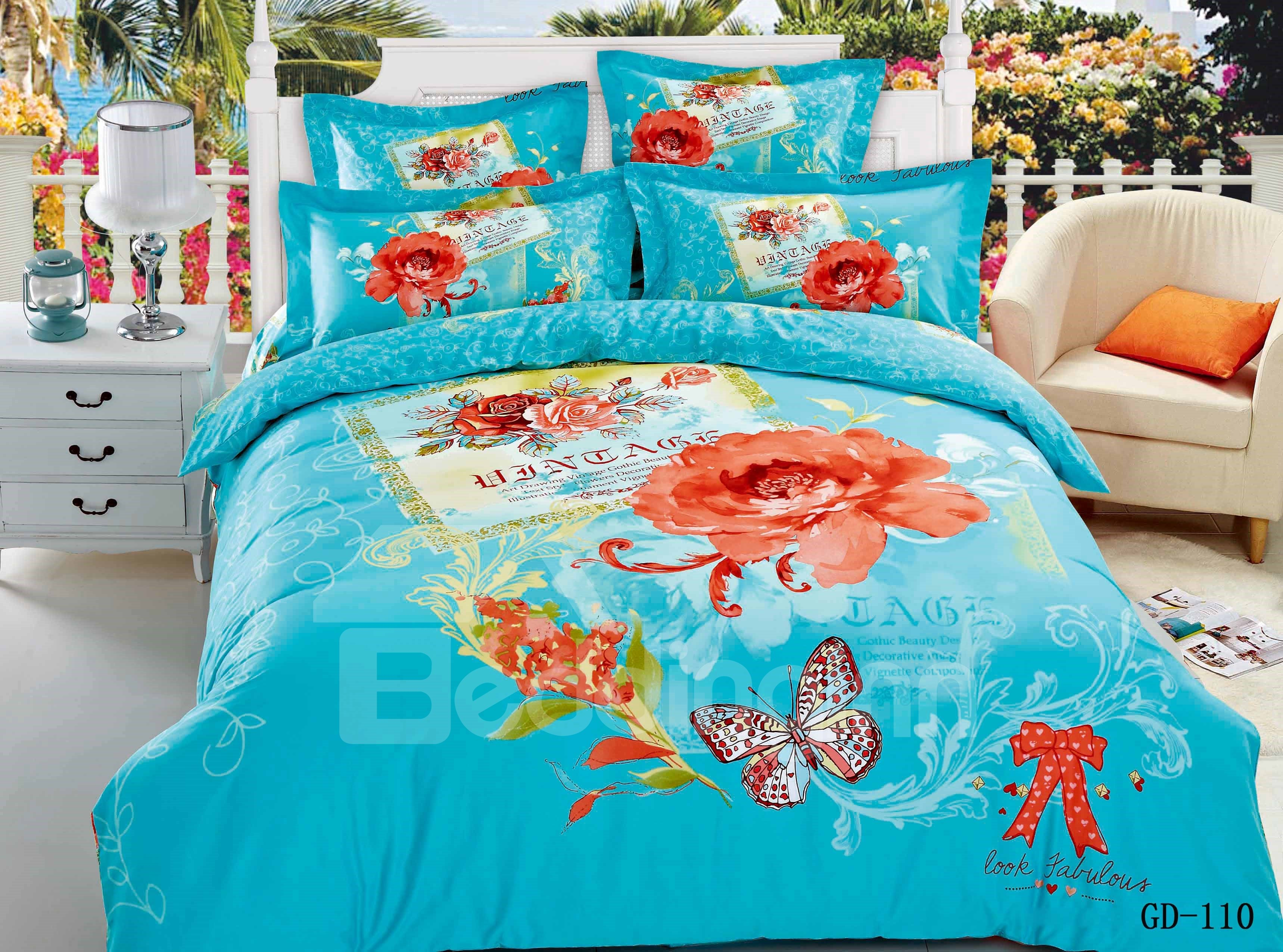 Amazing Flower and Butterfly Oil Painting 4-Piece Duvet Cover Sets