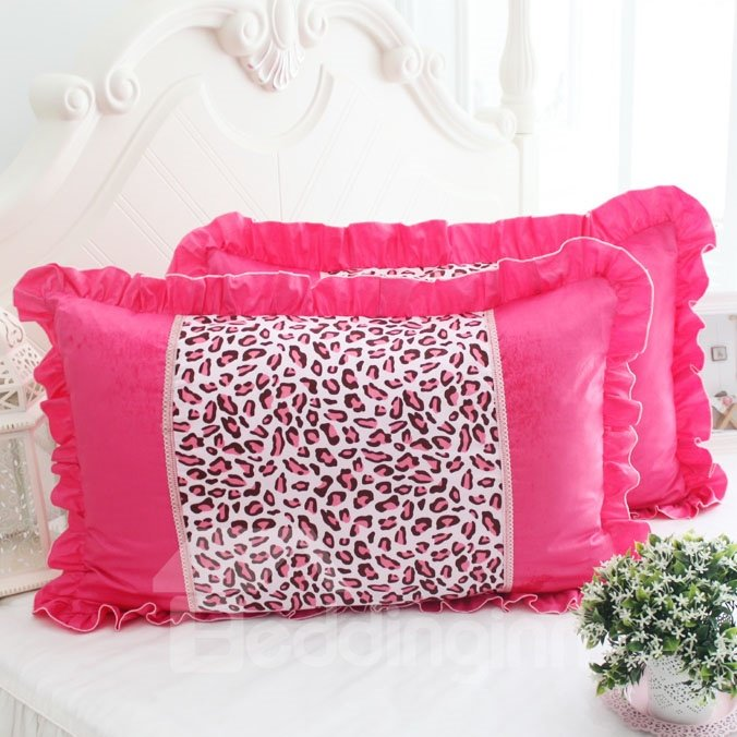 Beautiful Leopard Painting Fold Border Bed Pillowcase