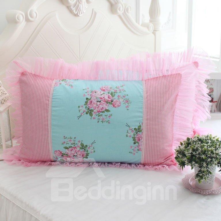 Fresh Pink Flower Checks and Border Bed Pillowcase