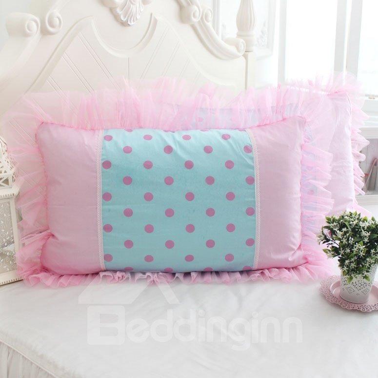 Warm Pink Dots Fold Border Bed Pillowcase