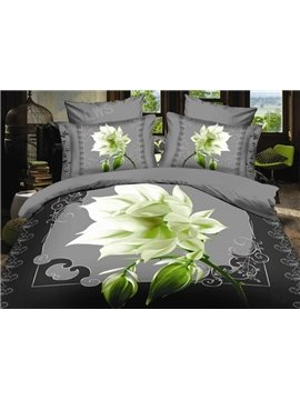 Elegant Night Blooms Flower Print 4-Piece Polyester Duvet Cover Sets