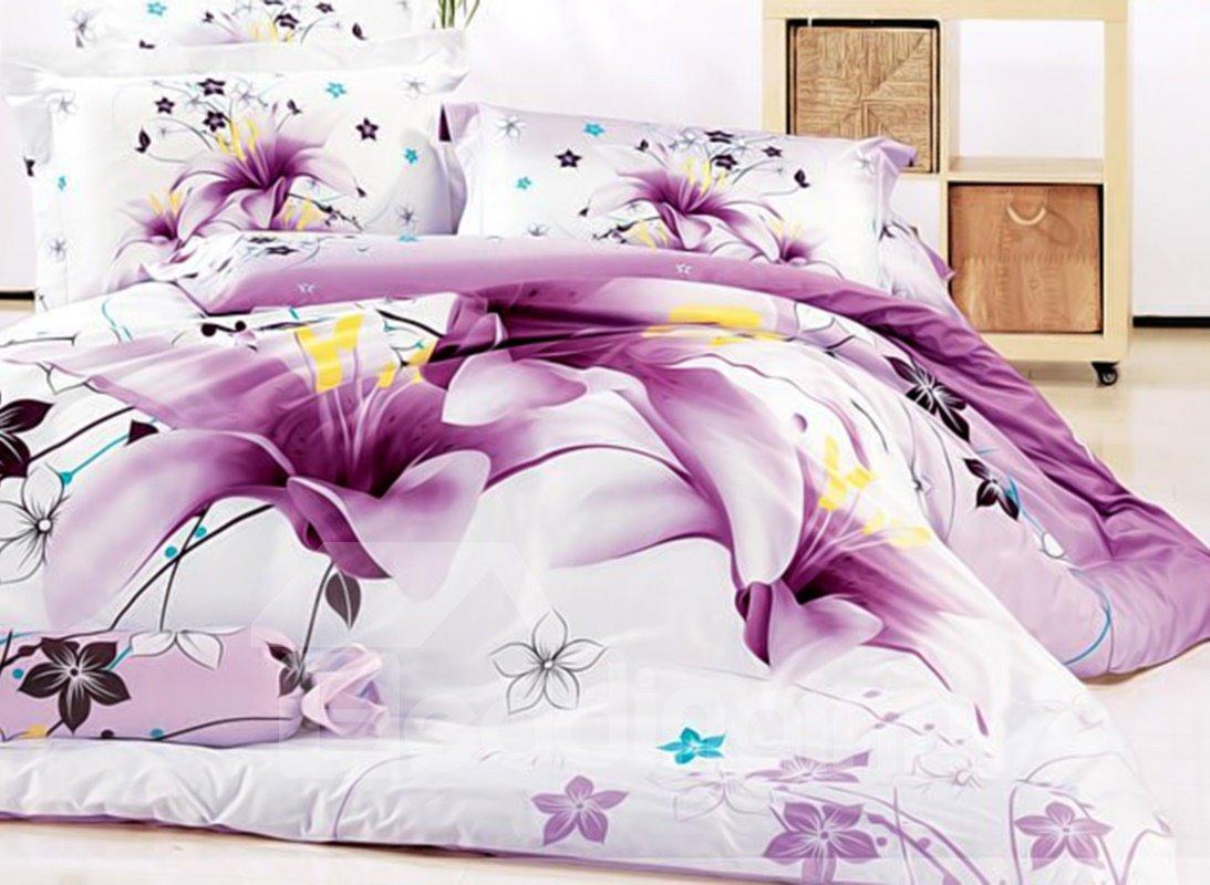 Stunning Purple Lily Print 4-Piece Cotton Duvet Cover Sets