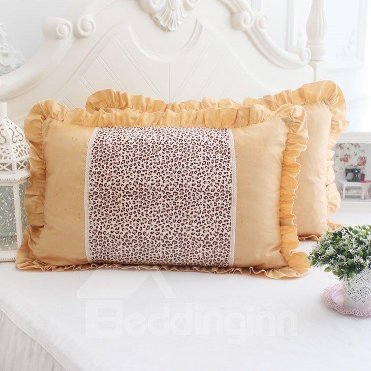 Super Soft Leopard Orange Fold Border Bed Pillowcase