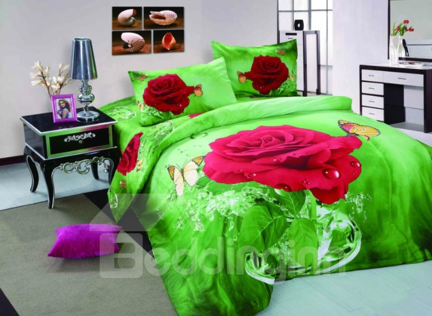 Charming Red Rose and Butterfly with Green Background 4-Piece Duvet Cover Sets