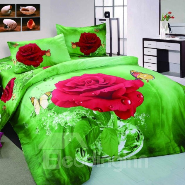 3D Red Rose and Butterfly Printed Cotton Full Size 4-Piece Green Bedding Sets