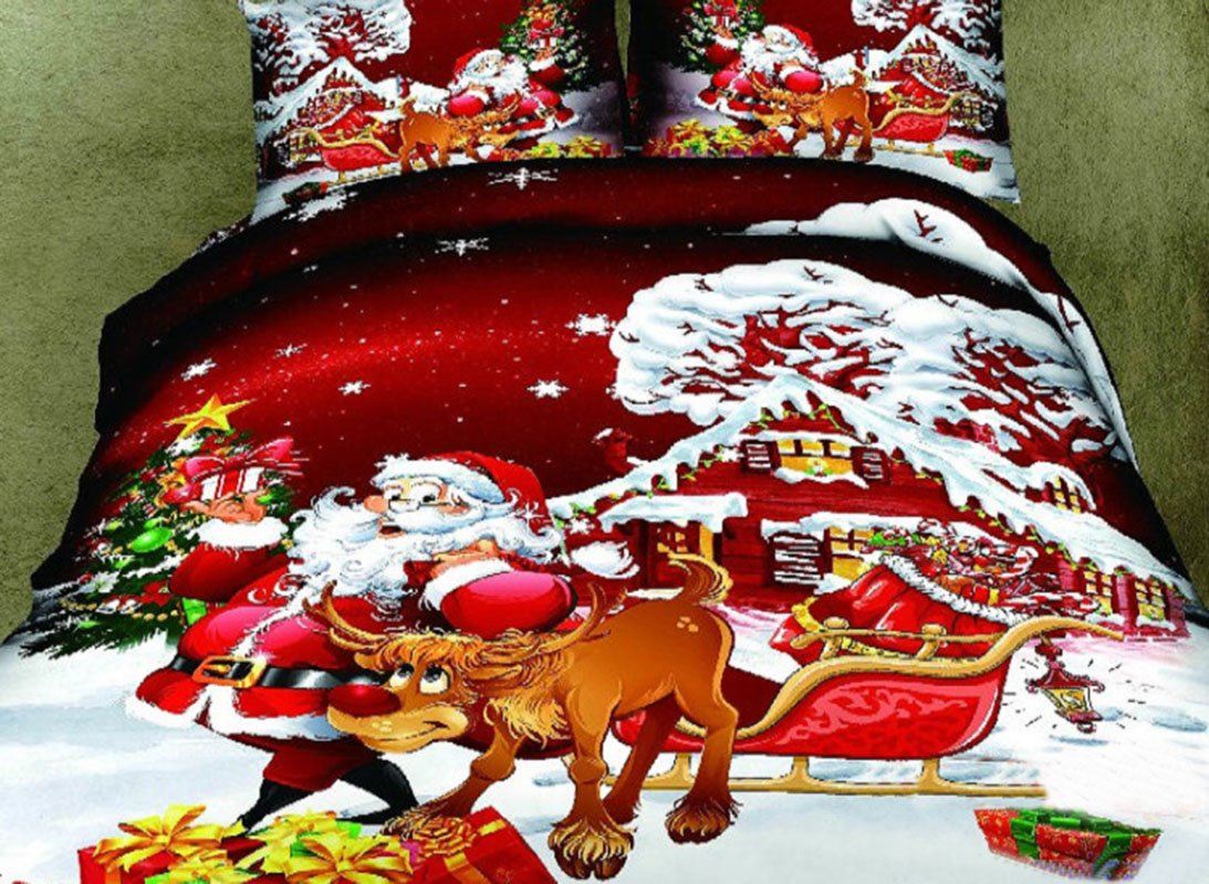 Santa and the Reindeer Print 4-Piece Cotton Christmas Gift Duvet Cover Sets