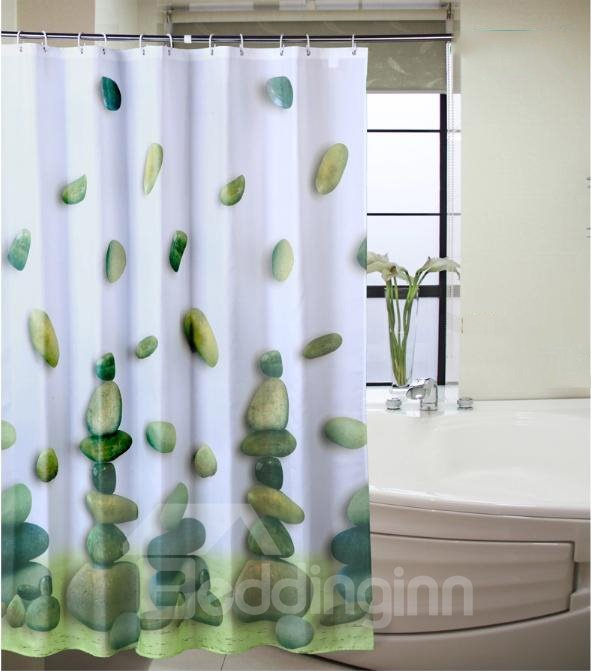 Graceful Unique Green Cobblestone Printing Shower Curtain