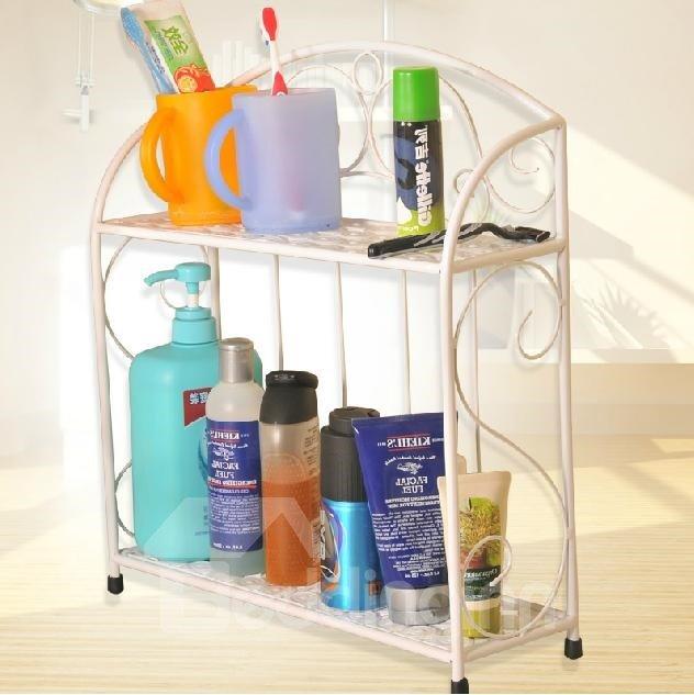 Wonderful Concise Iron Double Layers Bathroom Shelf