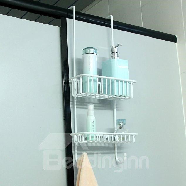 Concise Multifunctional White Hanger Design Bathroom Shelf