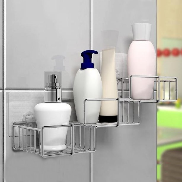 Wonderful Concise Stair Design Three-layer Bathroom Shelf