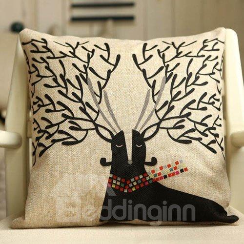 Super Cute Christmas Gift Deer Pattern Throw Pillow