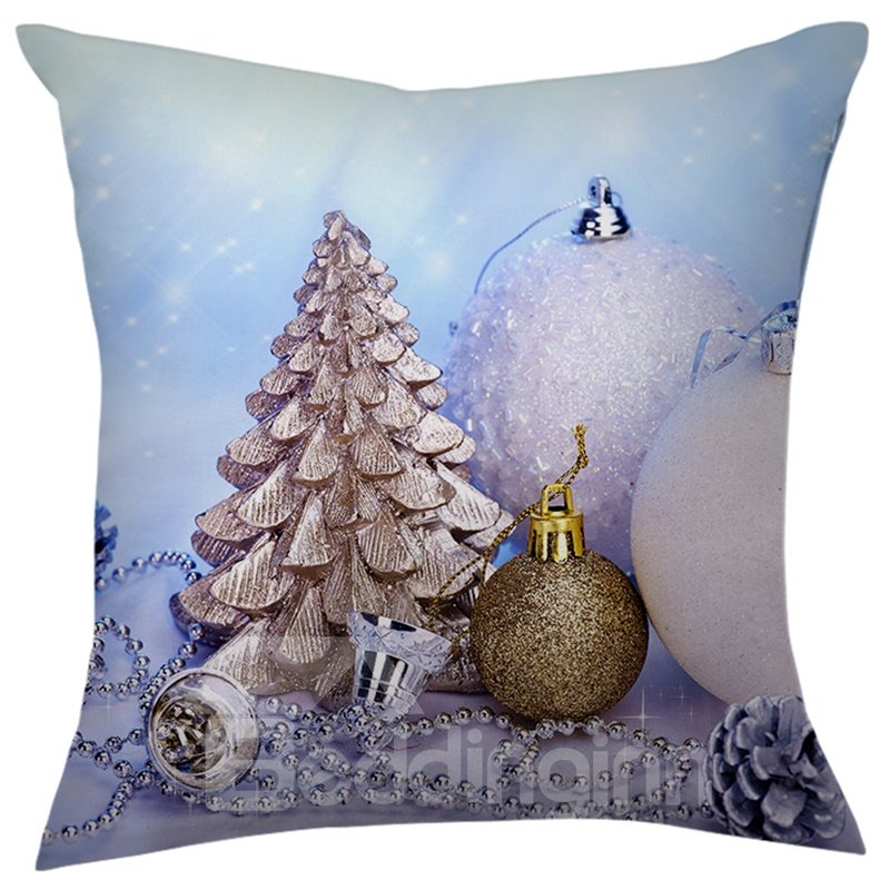 Merry Christmas Balls Decoration Pattern Throw Pillow