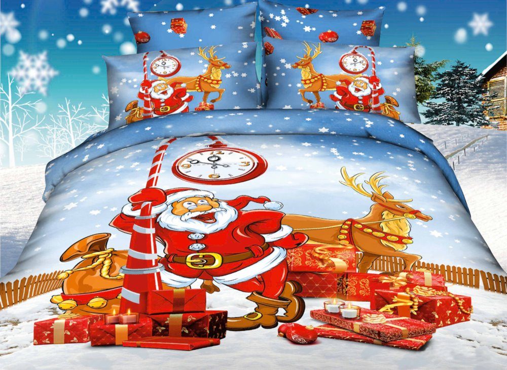 Father Christmas Coming Print 4-Piece Lace Chritmstmas Gift Duvet Cover Sets