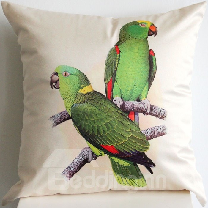 Super Lovely Two Green Birds Grappling Branch Throw Pillow