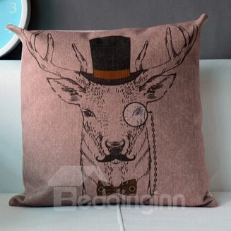 Christmas Gift Concise Homburg and Tie Reindeer Throw Pillow