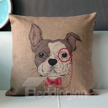 Creative Wearing Red Tie Yapee Dog Throw Pillow