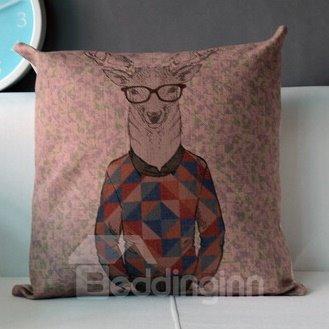 Creative Wearing Sweater Reindeer Pattern Throw Pillow