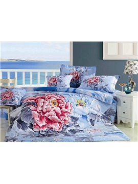 Luxury Peony Print 4-Piece 100% Cotton Duvet Cover Sets