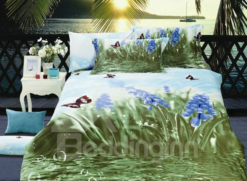 Fancy Blue Flower and Green Water Print 4-Piece 3D Cotton Duvet Cover Sets