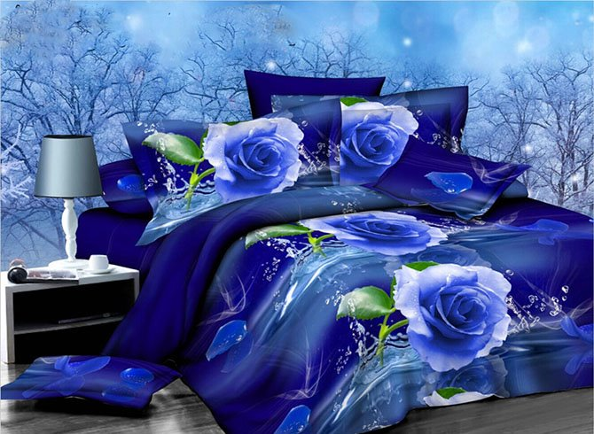 Graceful Blue Rose Print 4-Piece Polyester Duvet Cover Sets