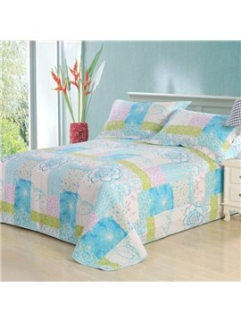 Fresh Cool Bright Color Flower Pattern 3-Piece Bed in a Bag Sets