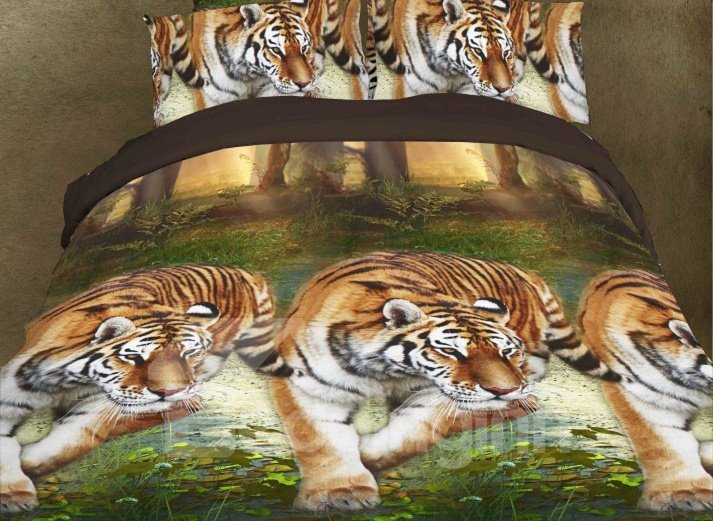 Beautiful Tiger Print 4-Piece Polyester 3D Duvet Cover Sets