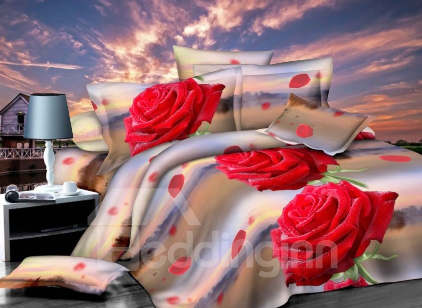 Bright Red Rose Print 4-Piece Polyester 3D Duvet Cover Sets