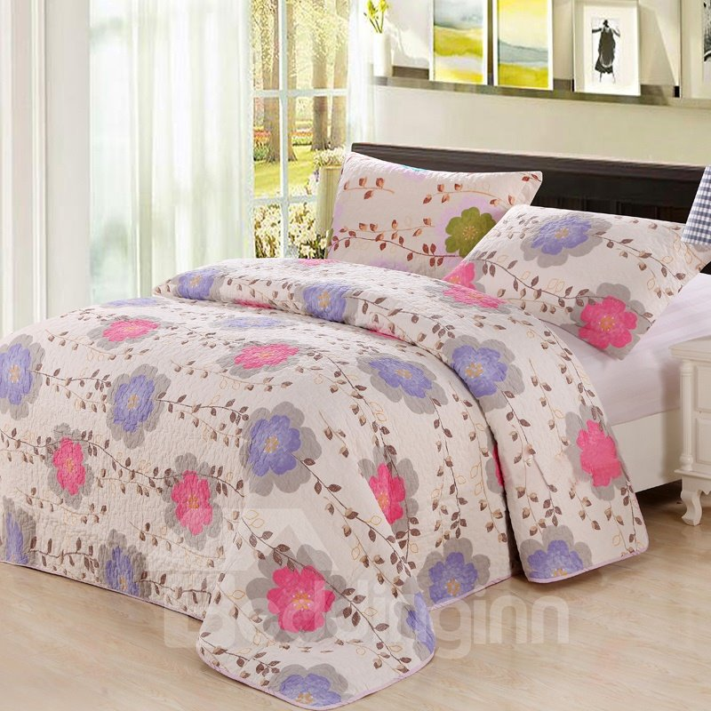 Fresh Colorful Flowers and Leaves Pattern 3-Piece Bed in Bag Set