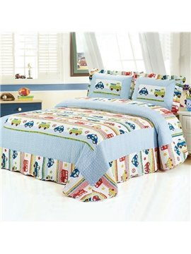 Super Soft Car Stripes Pattern 3-Piece Bed in a Bag
