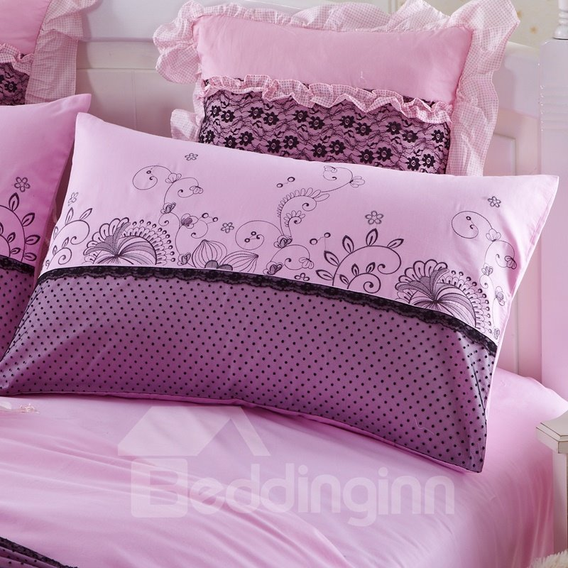 High Quality Korean Style Flower Print Princess 4-Piece Duvet Cover Sets