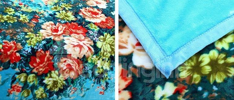 Fresh Colorful Flowers Pattern Sky Blue Blanket