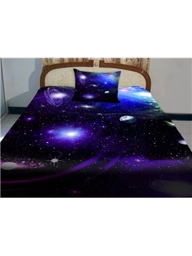 Wonderful Galaxy and Blue Shining Star Print 4-Piece Duvet Cover Sets