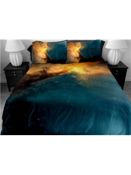 Dark Blue and Yellow Nebula Print 4-Piece Duvet Cover Sets
