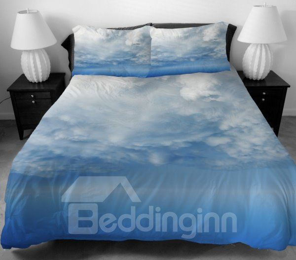 Endless White Clouds Print 4-Piece Duvet Cover Sets