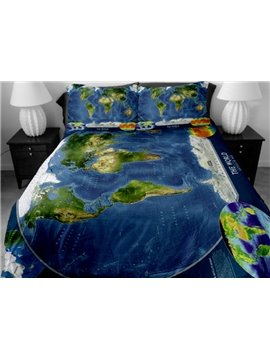 The World Map Print 4-Piece Duvet Cover Sets