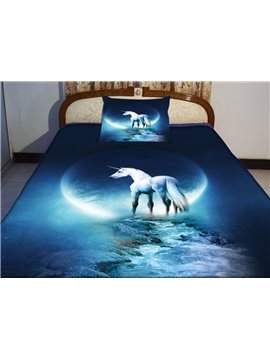 Beautiful Blue Unicorn Print 4-Piece Duvet Cover Sets