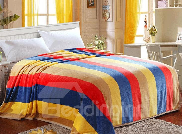 Fashion Rainbow Color Stripes Pattern Geometric Blanket