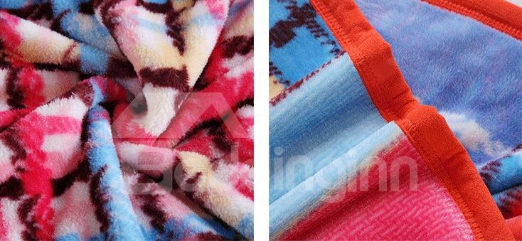 Fashion Bright Color Checks Thicken Geometric Blanket