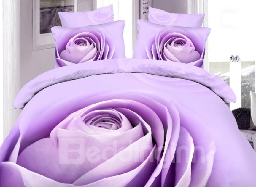 Amazing Purple Rose Bud Print 4-Piece 100% Cotton Duvet Cover Sets