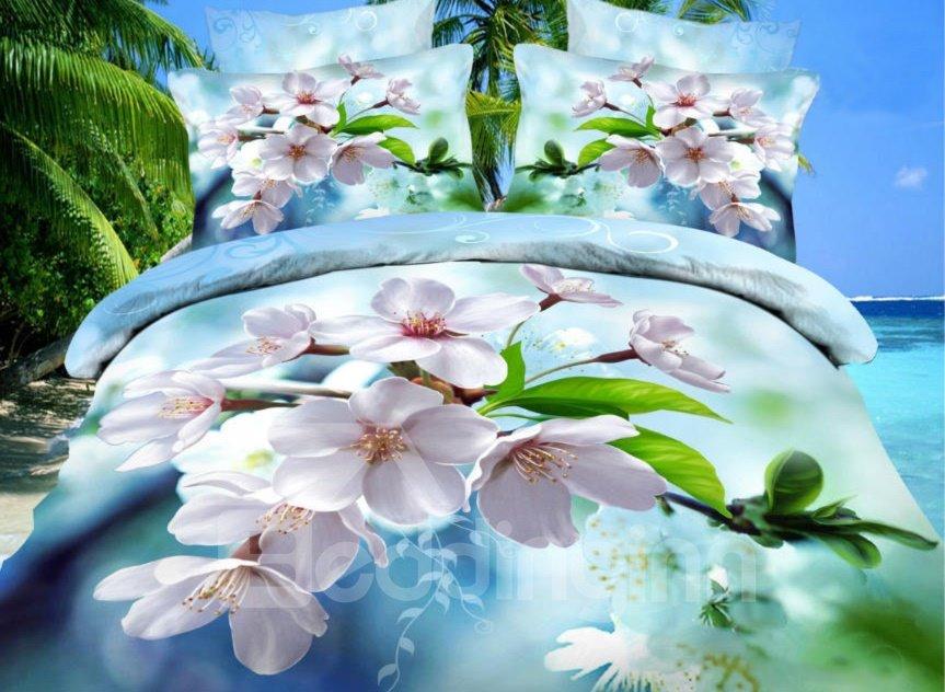 Fancy White Peach Blossom Print 4-Piece Duvet Cover Sets