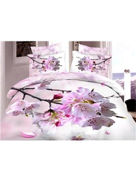 Very Beautiful Pink Peach Blossom Print 4-Piece Duvet Cover Sets