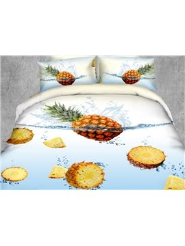 Delicate Pineapple in Water Print 4-Piece Polyester Duvet Cover Sets