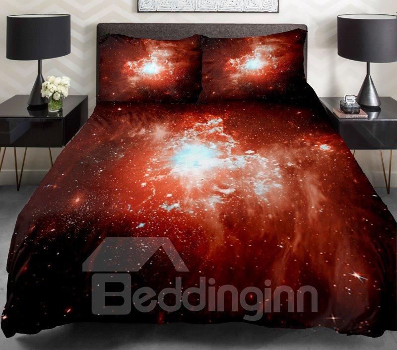 Orange Nebula Print 4-Piece Duvet Cover Sets